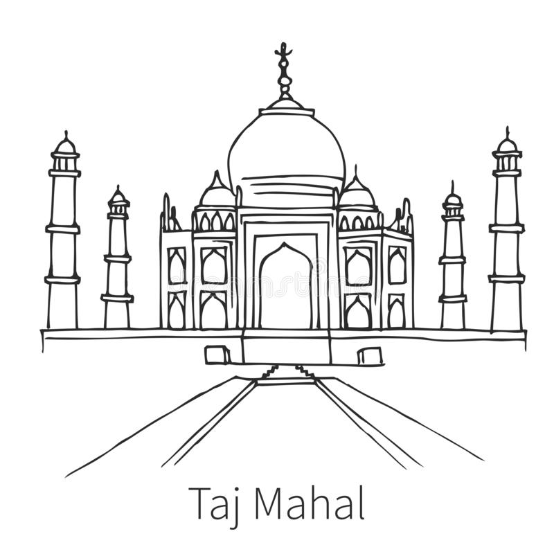 Taj Mahal-tekeningsschets vector illustratie