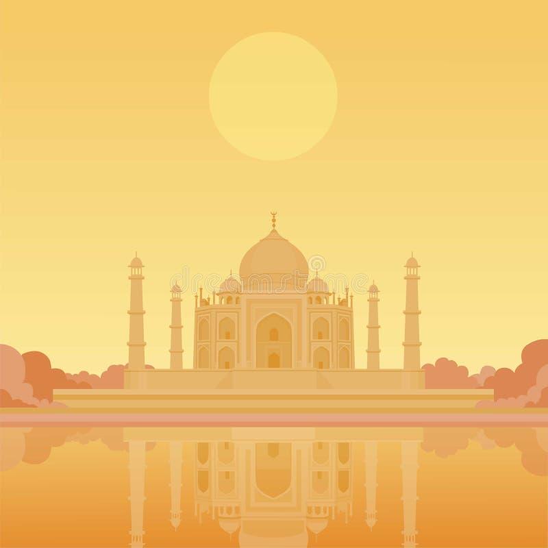 Taj-Mahal tempel Het gelijk maken ziet eruit stock illustratie