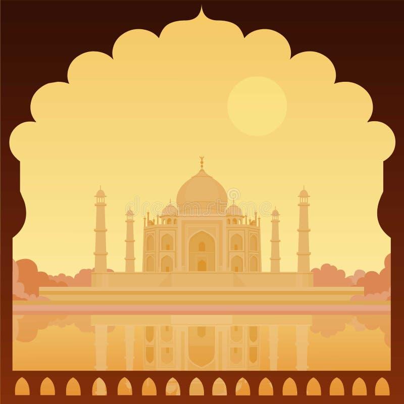 Taj-Mahal tempel Het gelijk maken ziet eruit vector illustratie