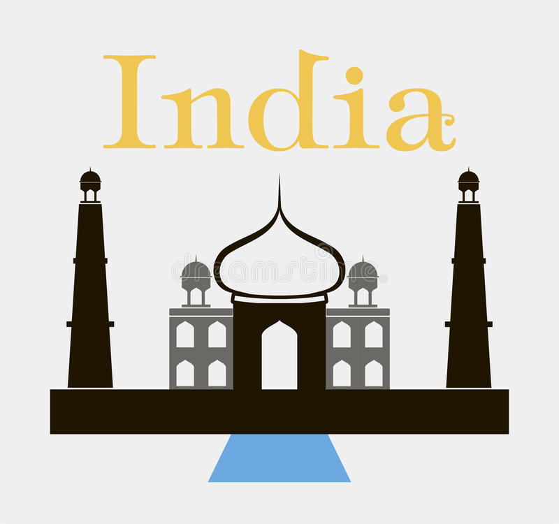 Taj-mahal tempelsilhouette vektor stock illustrationer