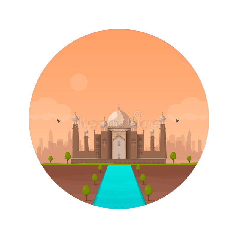 Taj Mahal temple colorful. Sunset in Indian Agra city. Vector royalty free illustration