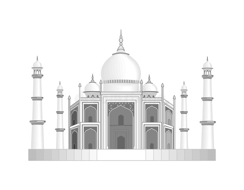 The Taj Mahal temple in India. Stylized as a pencil drawing. illustration stock illustration