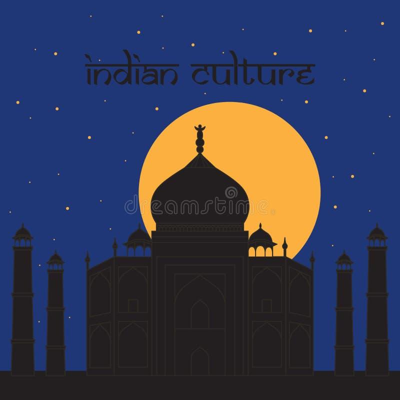 Taj Mahal Temple Landmark em Agra, Índia Mausoléu de mármore branco indiano, noite indiana da arquitetura ilustração royalty free
