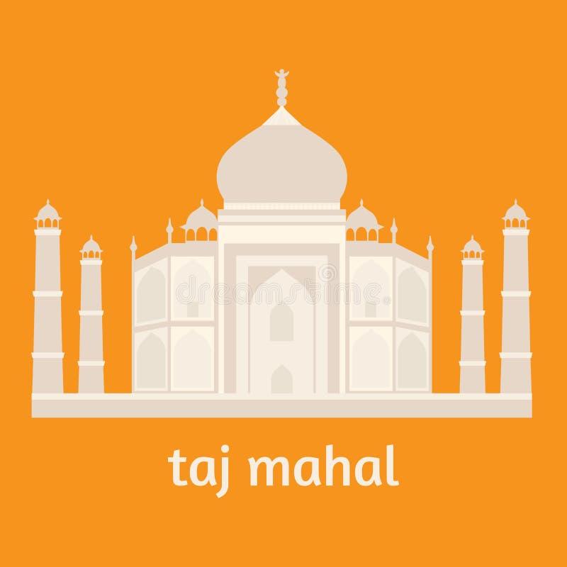 Taj Mahal Temple Landmark i Agra, Indien Indisk vit marmormausoleum, indisk arkitektur vektor illustrationer