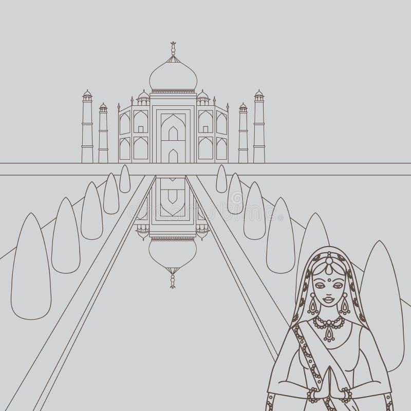 Taj Mahal Temple Landmark i Agra, Indien Indisk vit marmormausoleum, indisk arkitektur och South Asia härlig kvinnaweari stock illustrationer
