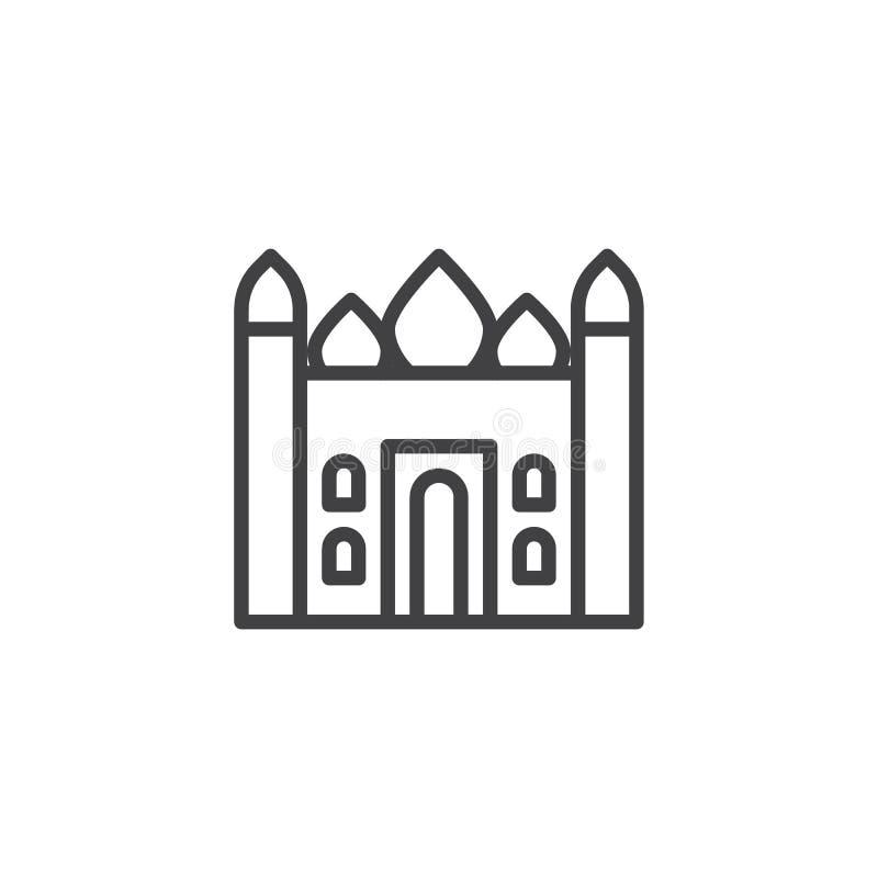 Taj mahal temple outline icon stock illustration