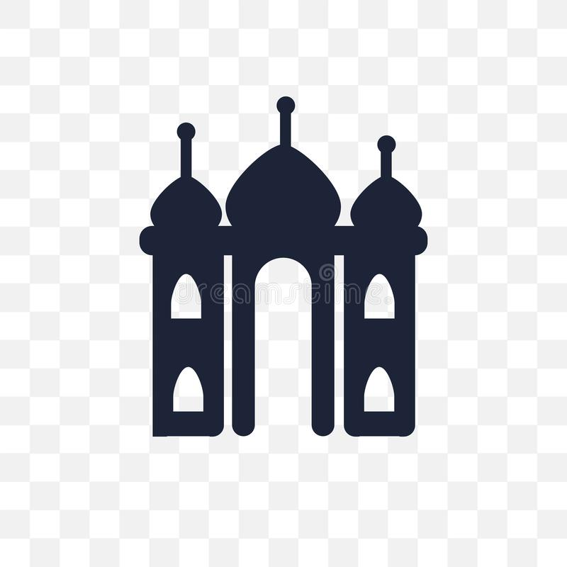 Taj mahal transparent icon. Taj mahal symbol design from India c. Ollection. Simple element vector illustration on transparent background stock illustration