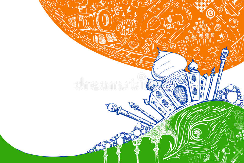 Download Taj Mahal on Tricolor stock vector. Illustration of creative - 22652413