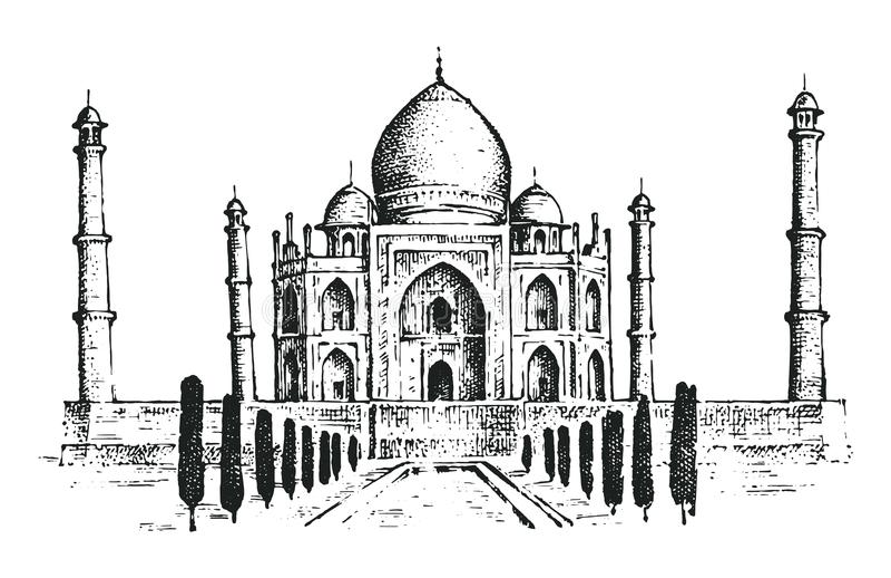 Taj Mahal um palácio antigo na Índia marco ilustração royalty free