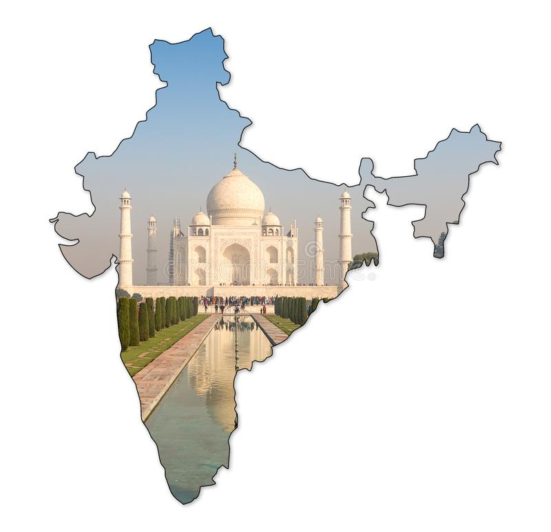 Taj Mahal van hoofdingang, Agra, Uttar Pradesh, India royalty-vrije illustratie