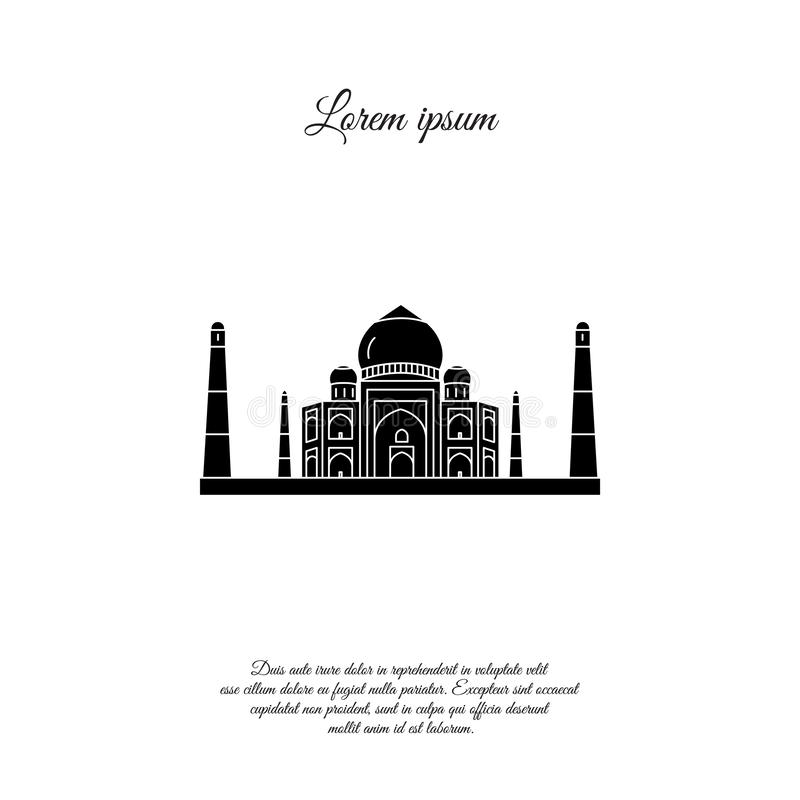 Taj Mahal vector icon, sign royalty free illustration