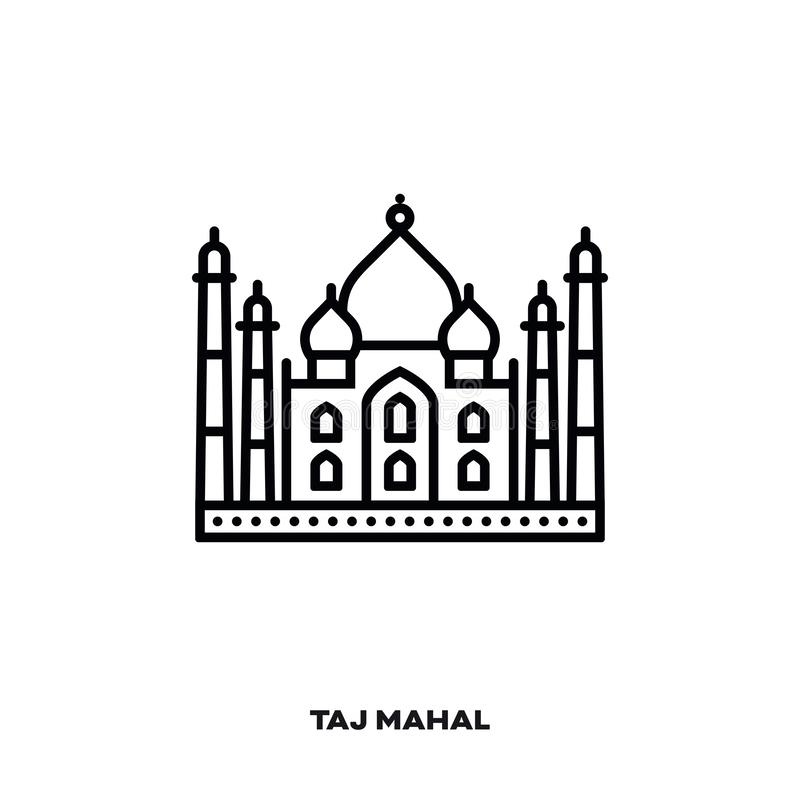 Taj Mahal vector line icon stock illustration