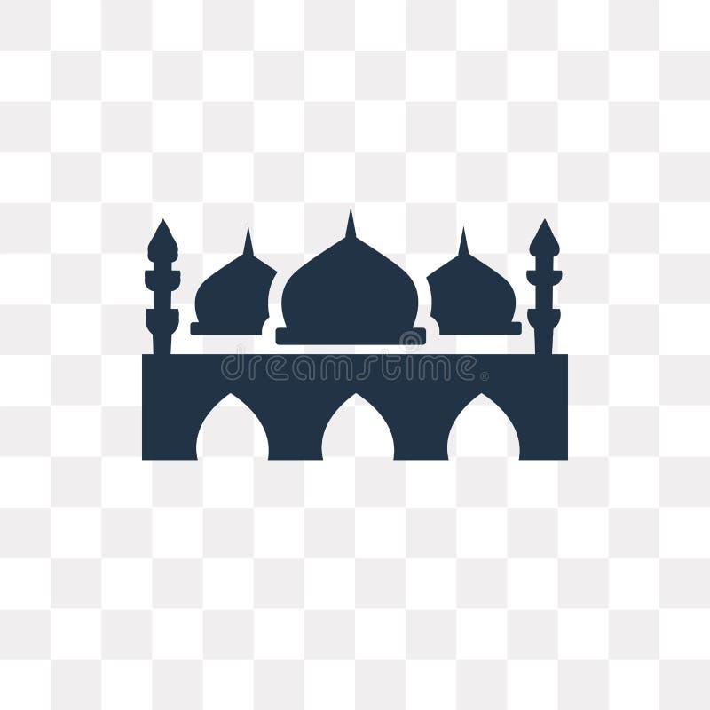 Taj mahal vectordiepictogram op transparante achtergrond, Taj ma wordt geïsoleerd vector illustratie
