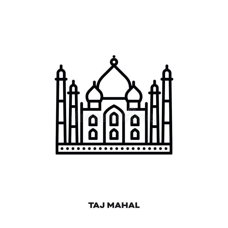 Taj Mahal vektorlinje symbol stock illustrationer