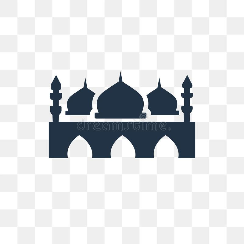 Taj mahal vektorsymbol som isoleras på genomskinlig bakgrund, Taj mor vektor illustrationer
