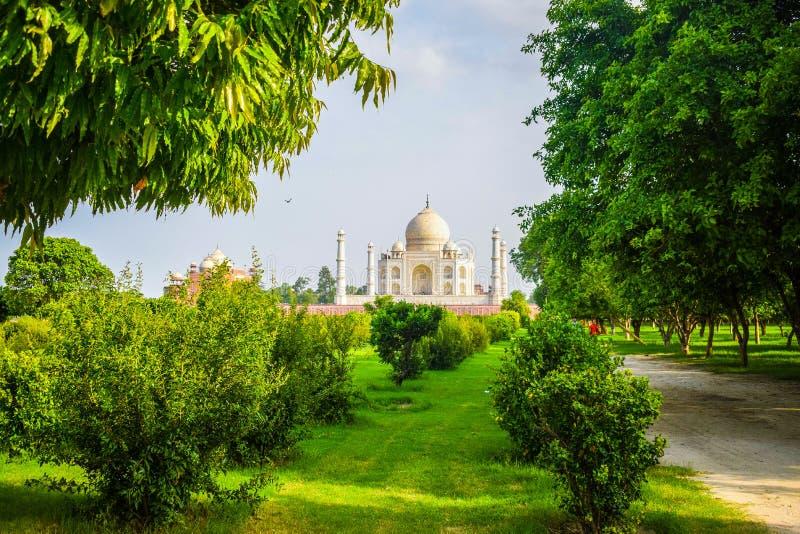 Taj Mahal volle Aussicht während des Tages in Agra India, The Taj unter 7 Wonders der Weltsicht lizenzfreie stockbilder