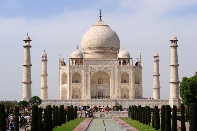 Taj Mahal vom Reflexionspool - Agra, Indien stockfotos