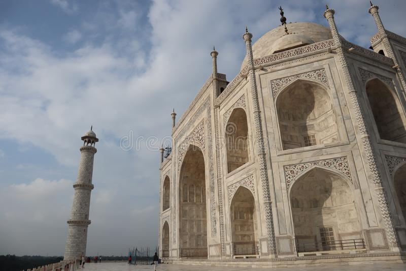 Taj Mahal is a white marble mausoleum on the bank of the Yamuna river in Agra city, Uttar Pradesh state - Image. Taj Mahal is a white marble mausoleum on the royalty free stock photography