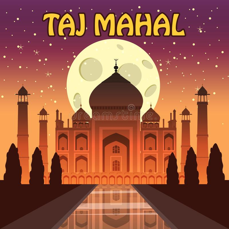 The Taj Mahal. White marble mausoleum on the south bank of the Yamuna river in the Indian city of Agra, Uttar Pradesh vector illustration