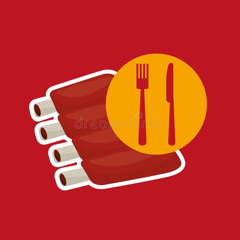 Tajadas de cordero del concepto de los alimentos de preparación rápida de la parrilla stock de ilustración