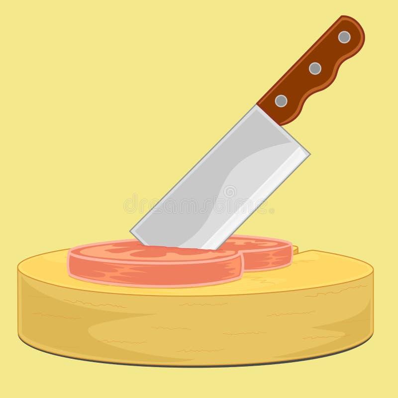 Tajar puñalada del cuchillo en la carne ilustración del vector