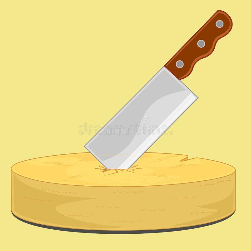 Tajar puñalada del cuchillo en la tajadera stock de ilustración