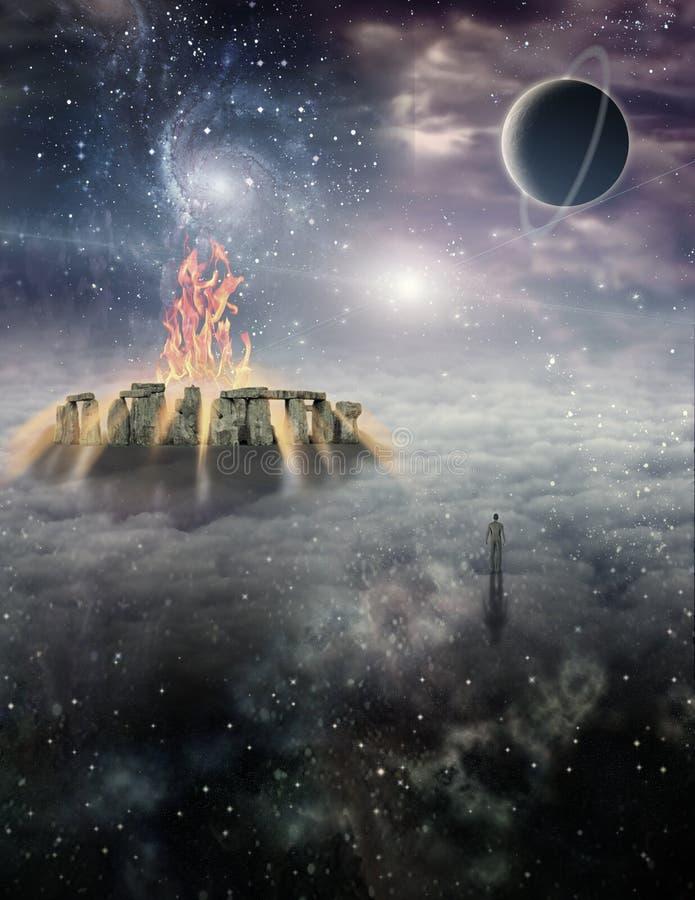 Tajemnicy antyczna świątynia royalty ilustracja