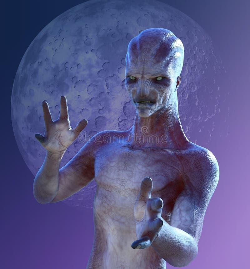 Tajemnicy księżyc Obcy portret royalty ilustracja