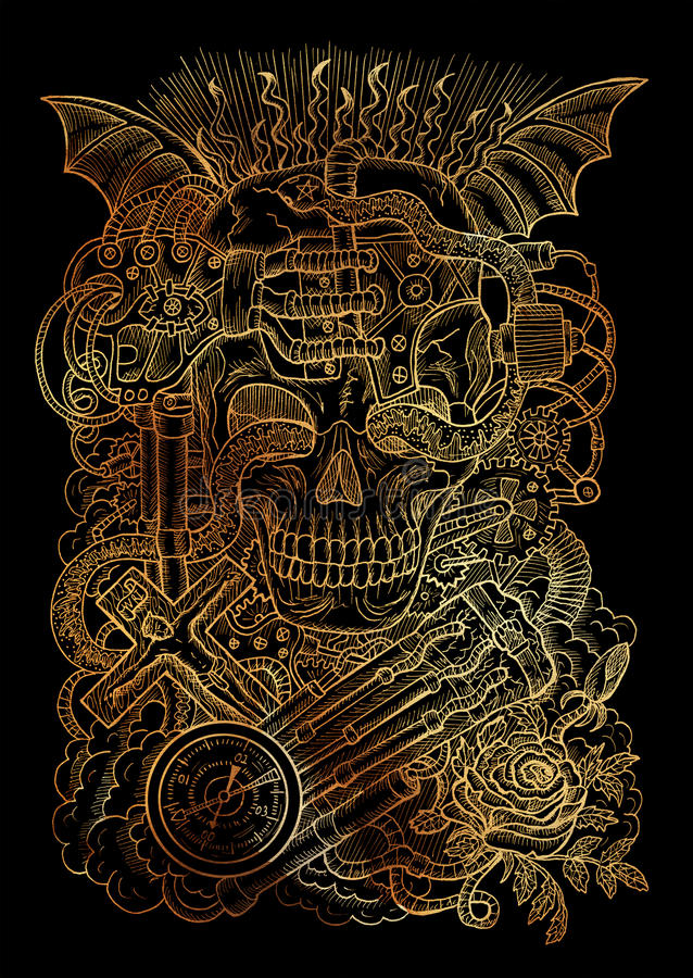 Tajemnicza Ilustracja Z Straszną Czaszką, Steampunk
