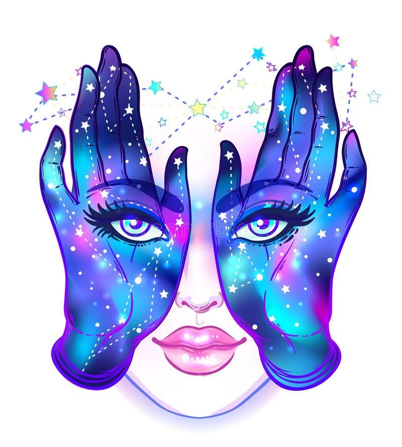 Tajemnicza istota z oczami na rękach Ręka rysujący illustrat ilustracja wektor
