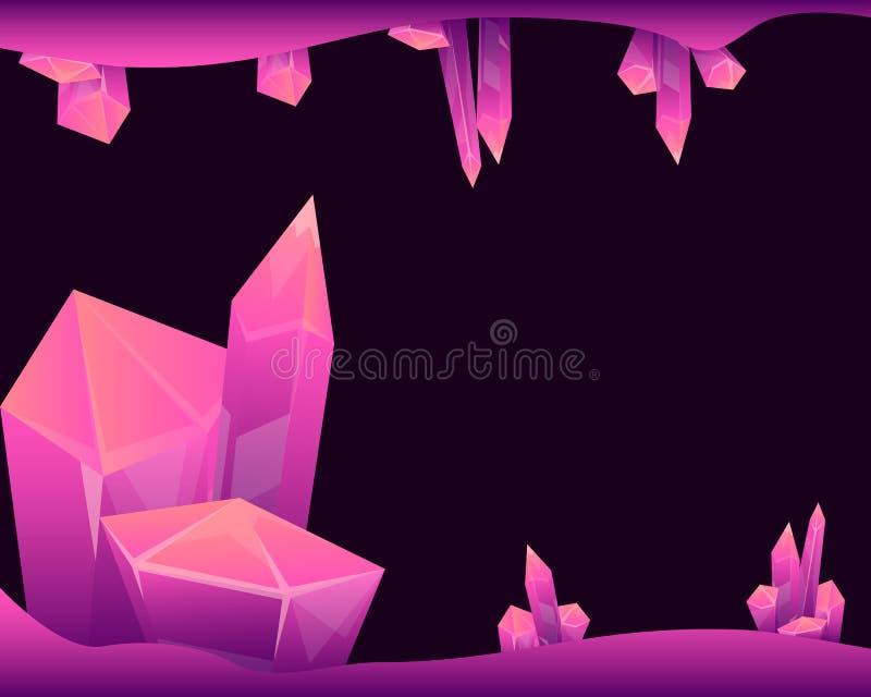 Tajemnicza jama z magicznymi kryształami ilustracji