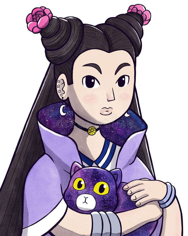 Tajemnicza młoda czarownica trzyma magicznego kota ilustracja wektor