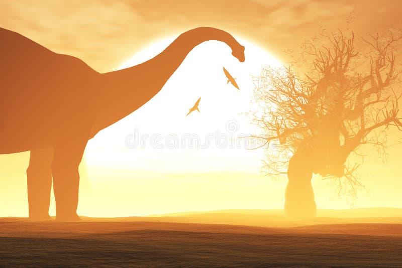 Tajemnicza Magiczna Prehistoryczna fantazi pustynia w zmierzchu wschodzie słońca ilustracja wektor