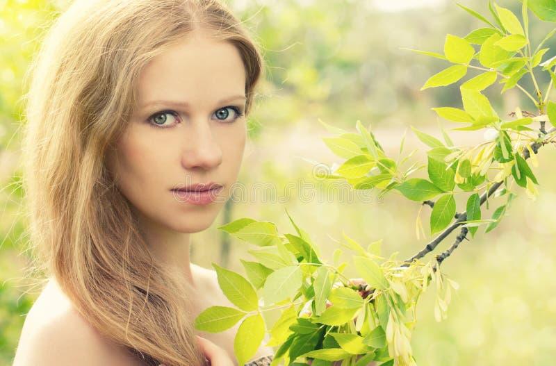 tajemnicza piękna powabna lasowa dziewczyna obraz stock