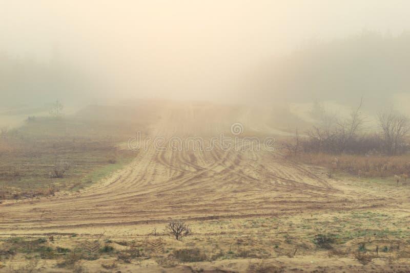 Tajemnicza piaskowata droga gruntowa zakrywająca z ciężką mgłą w wczesnym jesień ranku Sosny z gęstą mgłą wzdłuż wioski drogi sce zdjęcie stock
