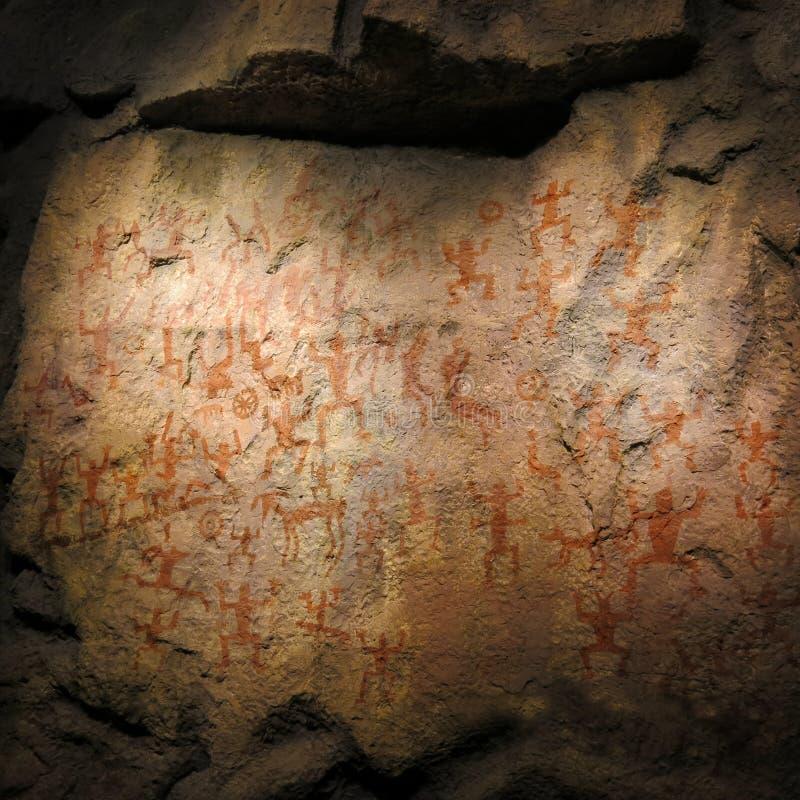 Tajemniczy antyczni jama petroglify zdjęcie royalty free