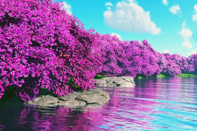Tajemniczy Czereśniowych okwitnięć japończyka ogród przy jeziorem 3D odpłaca się (1) ilustracji