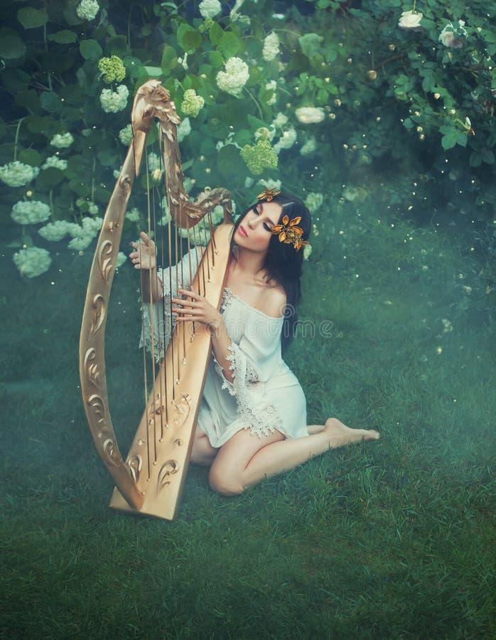 Tajemniczy duch las bawić się na złotej czarodziejskiej harfie zdjęcie stock