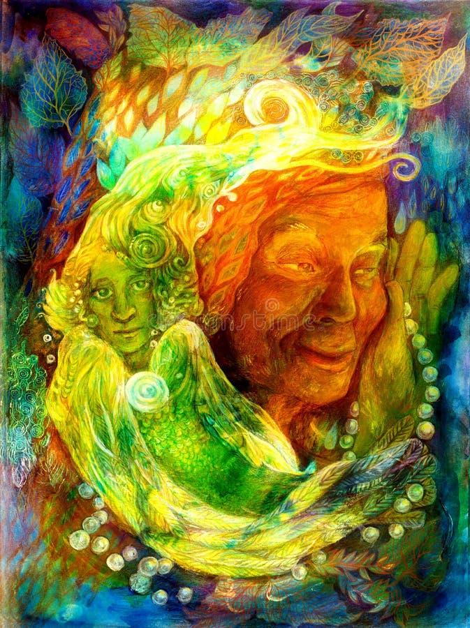 Tajemniczy jaskrawy - zielona wodna czarodziejka, piękny kolorowy fantazja obraz ilustracja wektor
