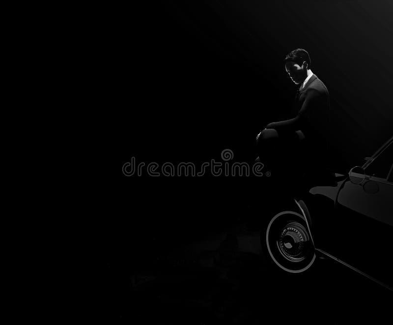 Tajemniczy mężczyzna obsiadanie na samochodzie 3d odpłaca się ilustracja wektor