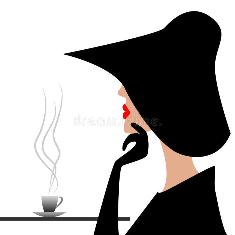 Tajemniczy nieznajomy w czarnym kapeluszu royalty ilustracja