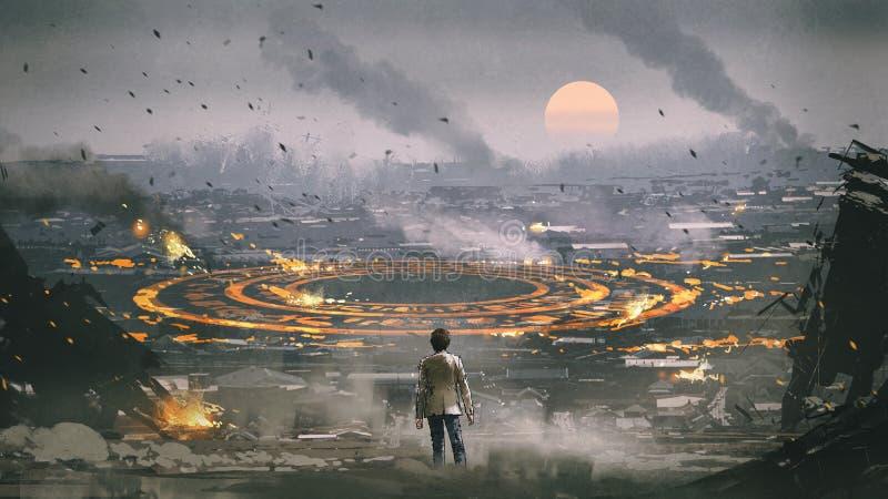 Tajemniczy okrąg w apocalypse mieście royalty ilustracja