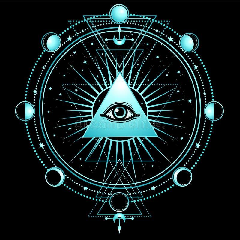 Tajemniczy tło: ostrosłup, wszystkowidzący oko, święta geometria royalty ilustracja