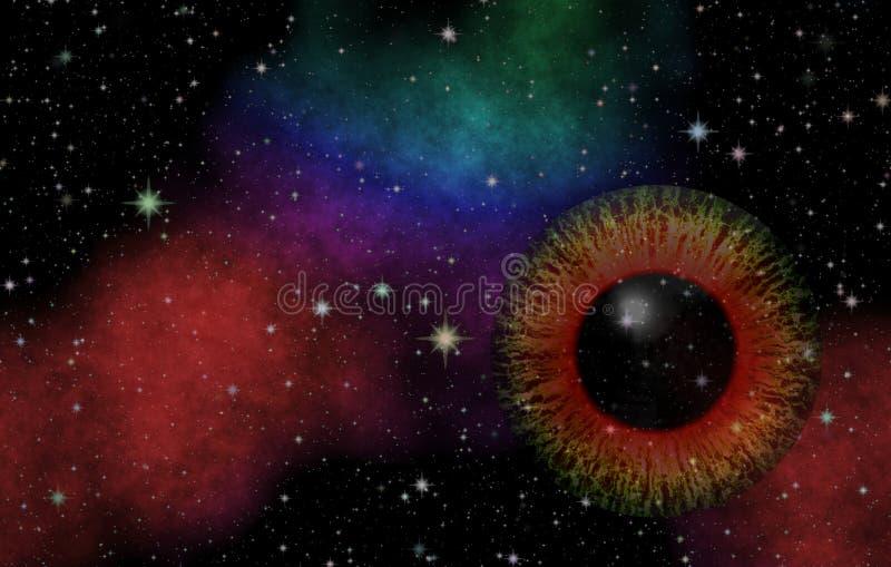 tajemniczy widok Magiczny oko Panoramiczny patrzeć w głęboką przestrzeń Ciemny nocne niebo pełno gwiazdy fotografia royalty free
