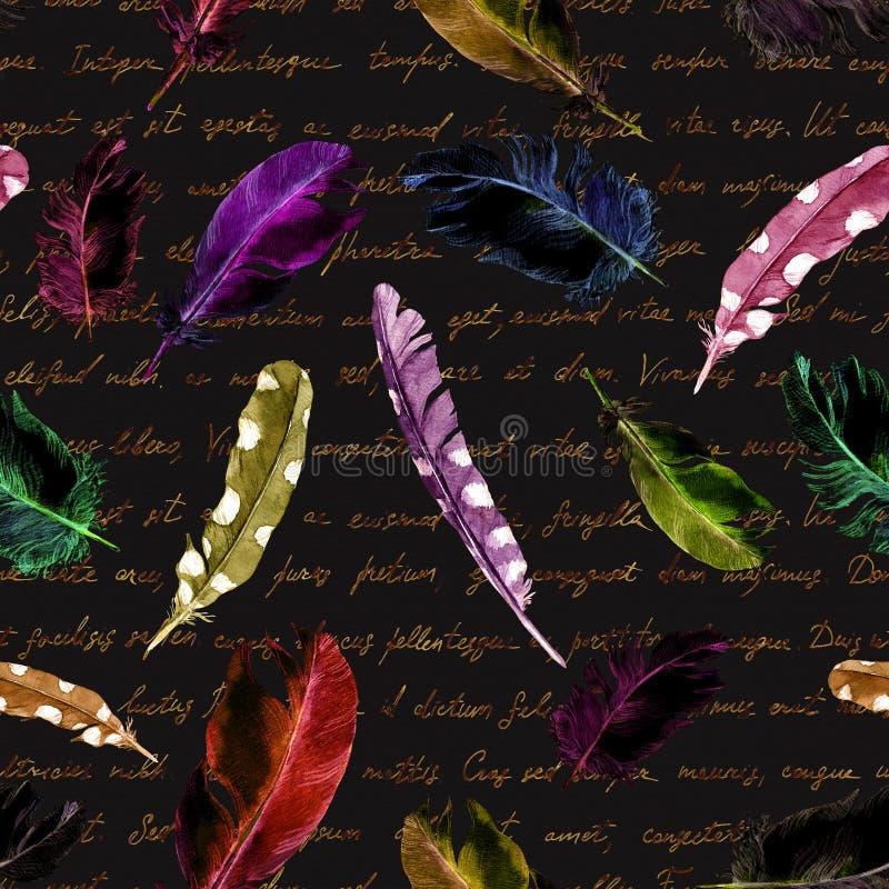 Tajemniczy wielostrzałowy wzór czarni koty, piórka i stary ręcznie pisany tekst -, Halloweenowa akwarela obraz stock