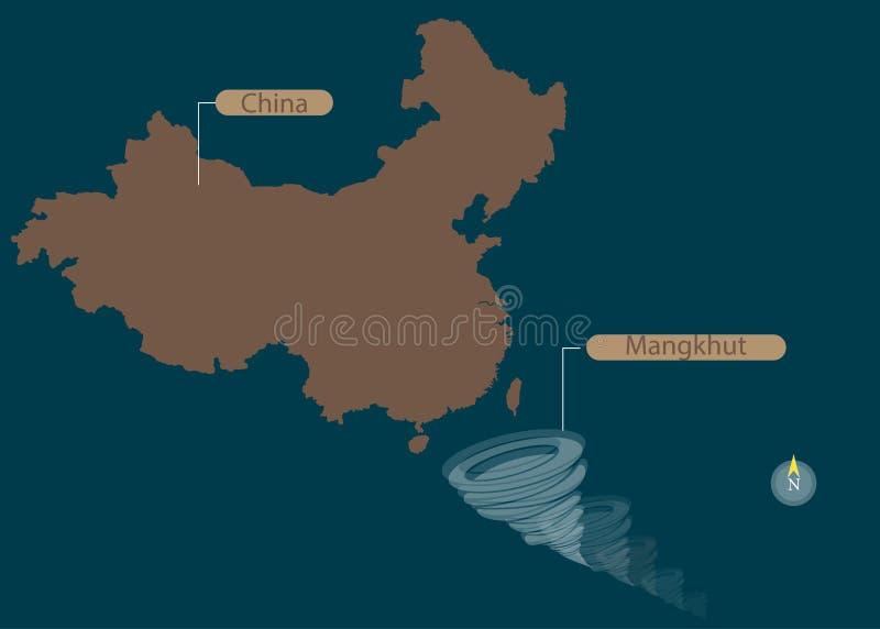 Tajfun Mangkhut Chiny Południowi Filipiny Tajfun szkoda i zniszczenie również zwrócić corel ilustracji wektora royalty ilustracja