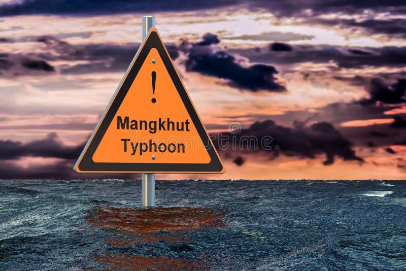Tajfun Mangkhut, powodzi pojęcie, 3D ilustracji