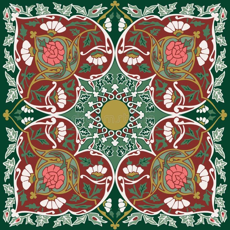 Tajik folk art bandanna design royalty free illustration