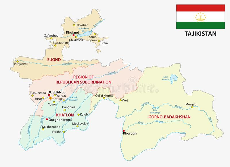 Tajikistan Administrative And Political Vector Map With Flag Stock