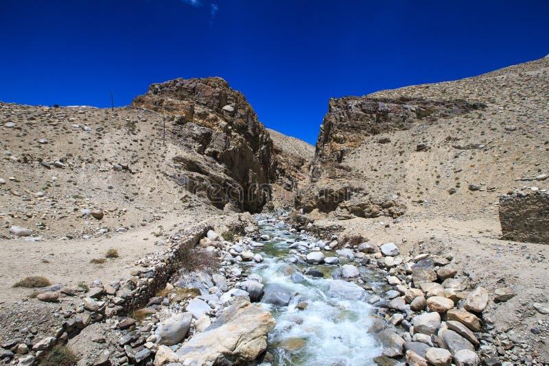 tajikistan Bergstroom die onderaan de canion met de bar stromen royalty-vrije stock foto